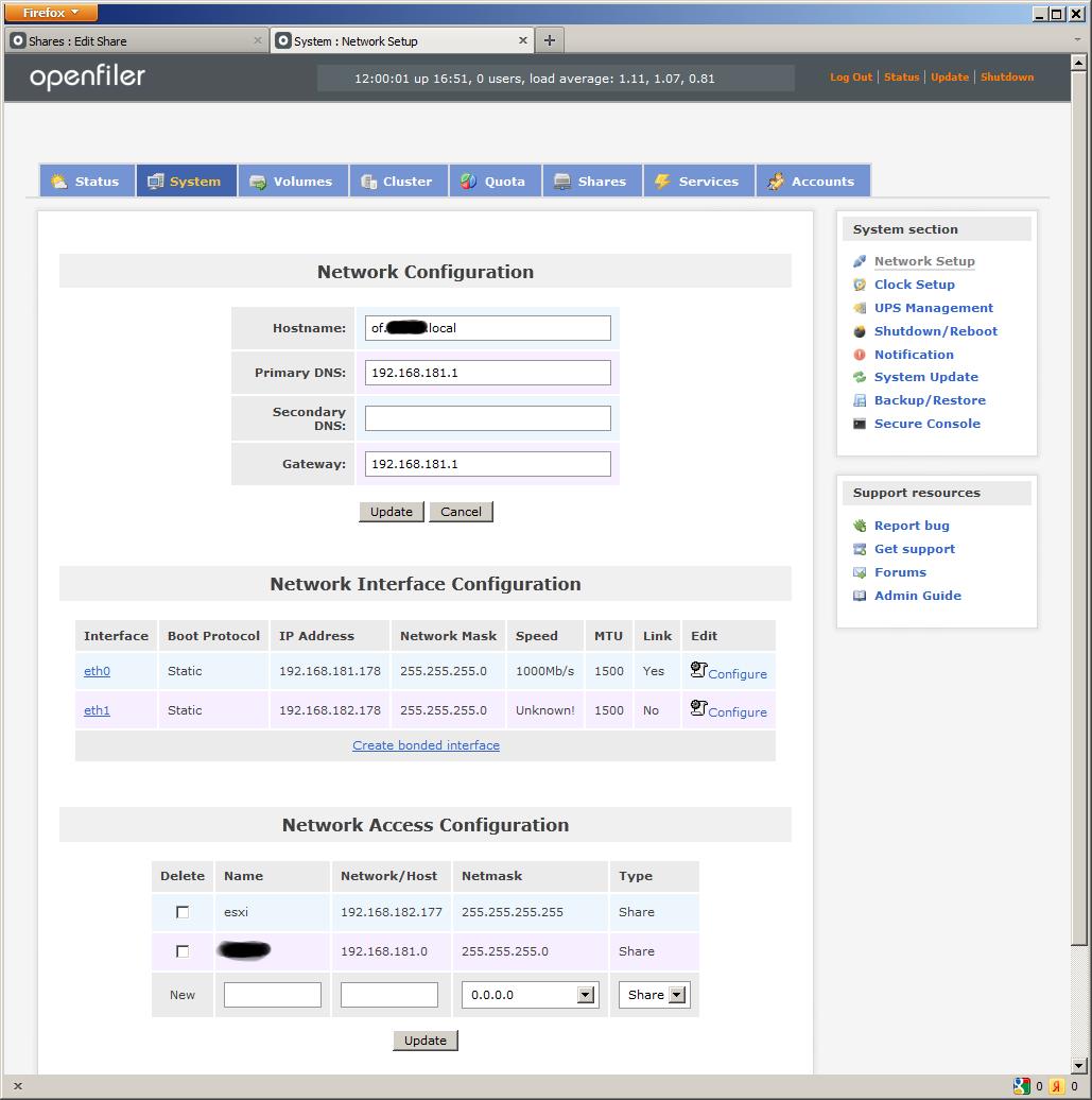 System Network Setup